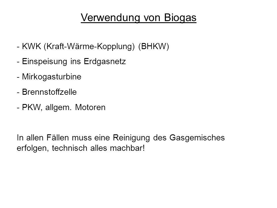 Verwendung von Biogas - KWK (Kraft-Wärme-Kopplung) (BHKW)