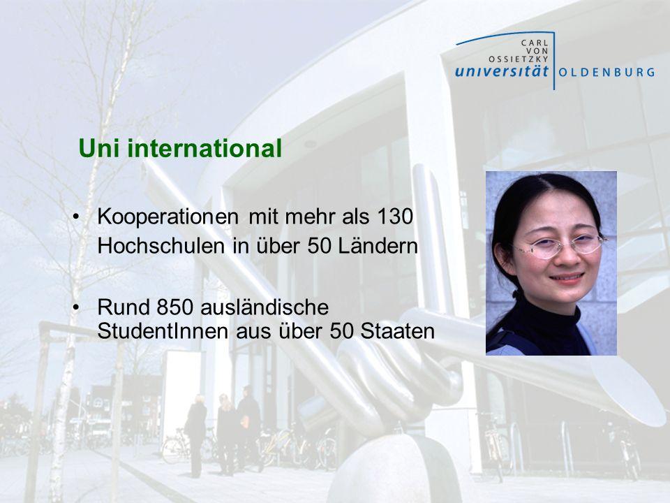 Uni international Kooperationen mit mehr als 130 Hochschulen in über 50 Ländern.