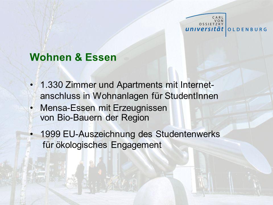 Wohnen & Essen 1.330 Zimmer und Apartments mit Internet- anschluss in Wohnanlagen für StudentInnen.