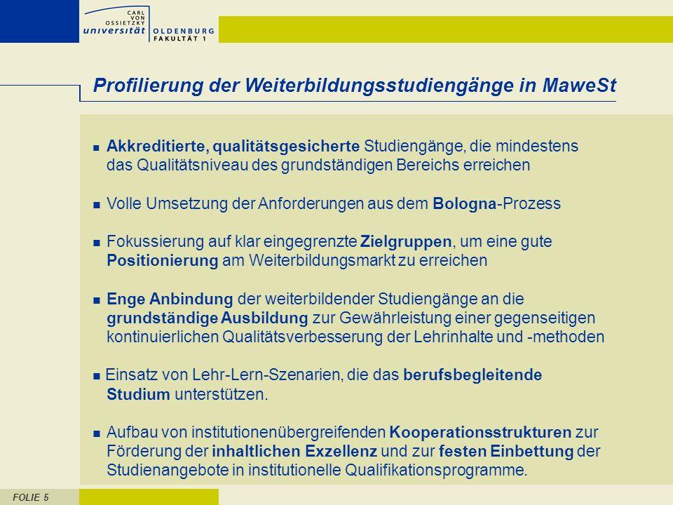Profilierung der Weiterbildungsstudiengänge in MaweSt