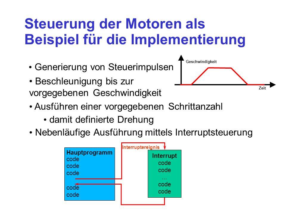 Steuerung der Motoren als Beispiel für die Implementierung