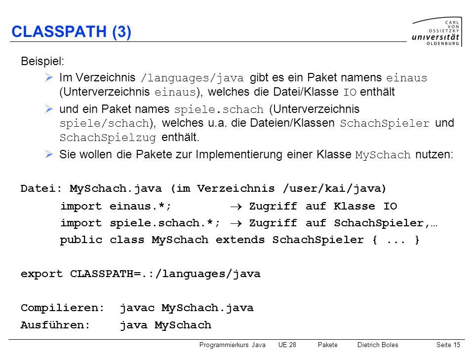 CLASSPATH (3) Beispiel: