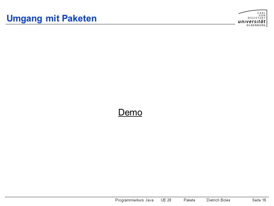 Umgang mit Paketen Demo