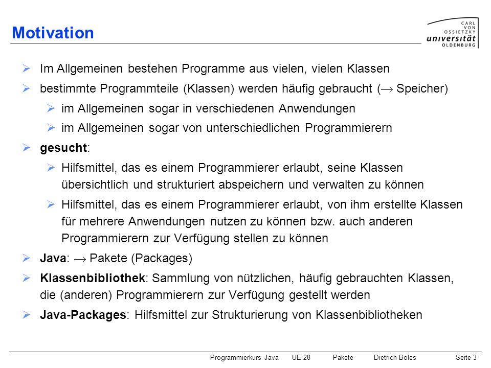 Motivation Im Allgemeinen bestehen Programme aus vielen, vielen Klassen. bestimmte Programmteile (Klassen) werden häufig gebraucht ( Speicher)