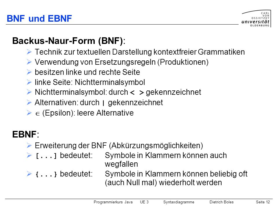 Backus-Naur-Form (BNF):