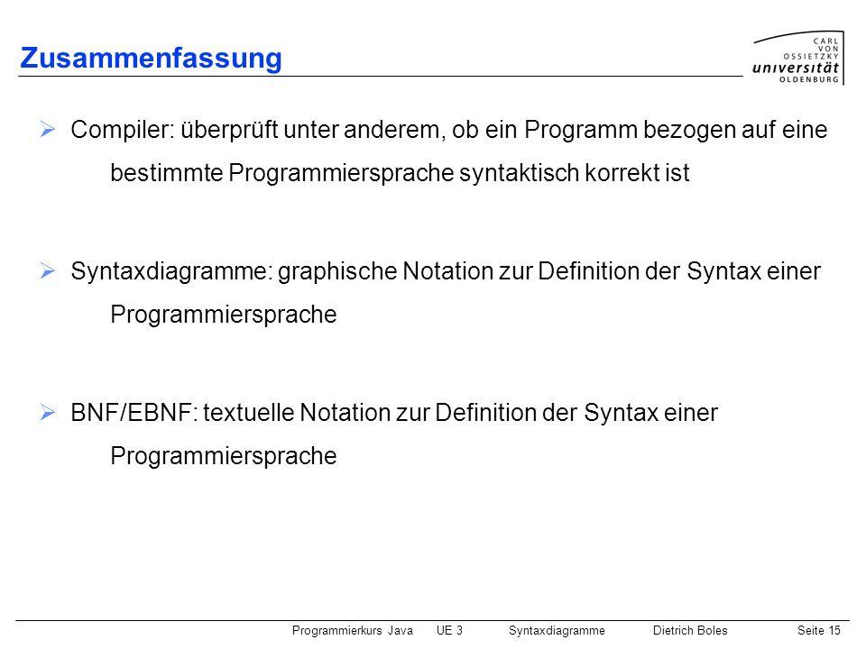Zusammenfassung Compiler: überprüft unter anderem, ob ein Programm bezogen auf eine bestimmte Programmiersprache syntaktisch korrekt ist.