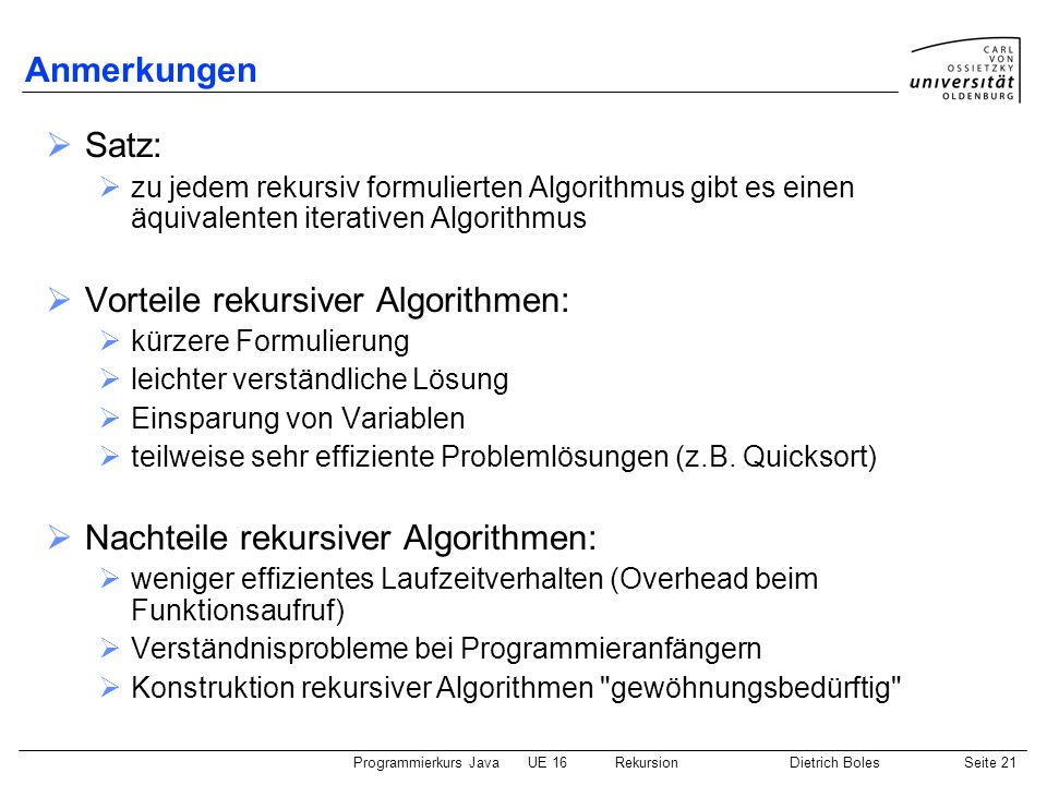 Vorteile rekursiver Algorithmen: