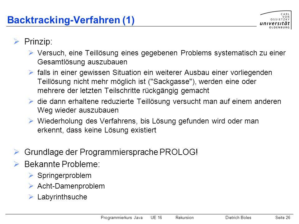 Backtracking-Verfahren (1)