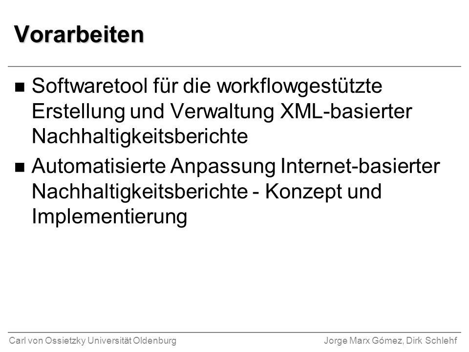 Vorarbeiten Softwaretool für die workflowgestützte Erstellung und Verwaltung XML-basierter Nachhaltigkeitsberichte.