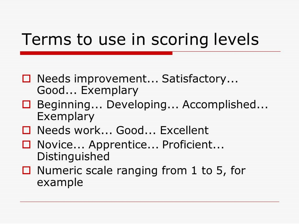 Terms to use in scoring levels