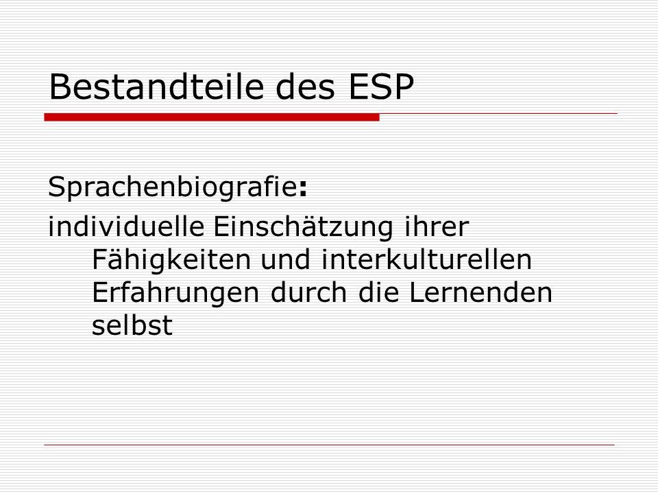 Bestandteile des ESP Sprachenbiografie: