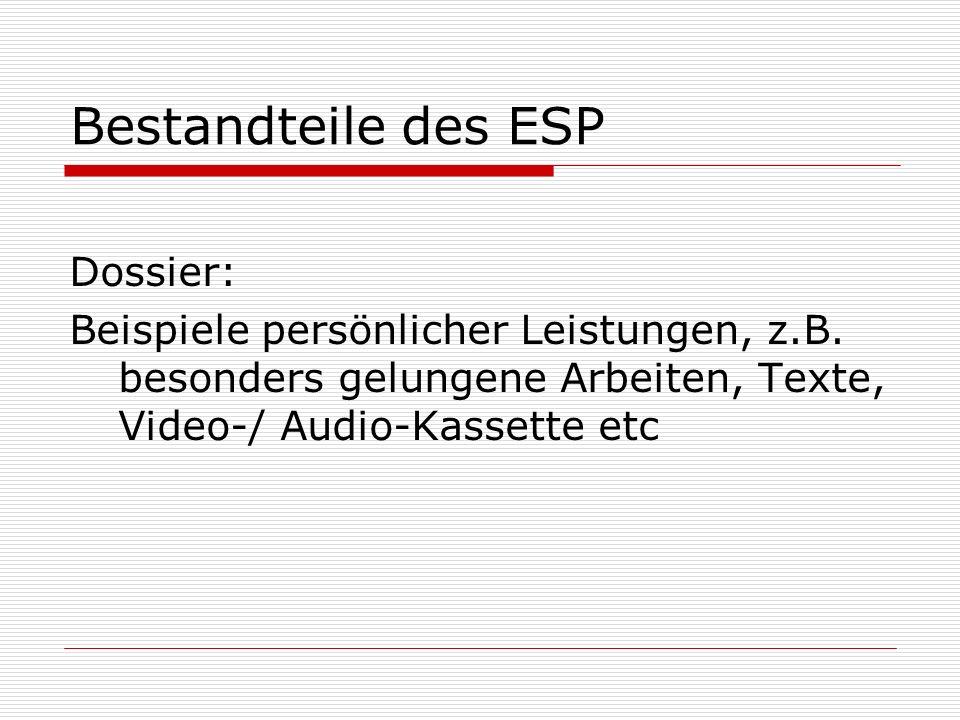 Bestandteile des ESP Dossier: