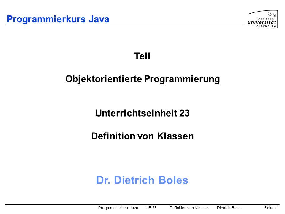 Objektorientierte Programmierung Definition von Klassen