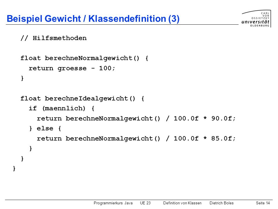 Beispiel Gewicht / Klassendefinition (3)