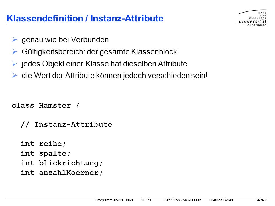 Klassendefinition / Instanz-Attribute