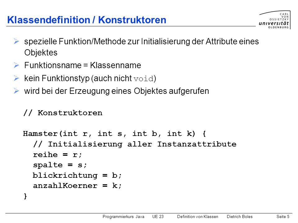Klassendefinition / Konstruktoren