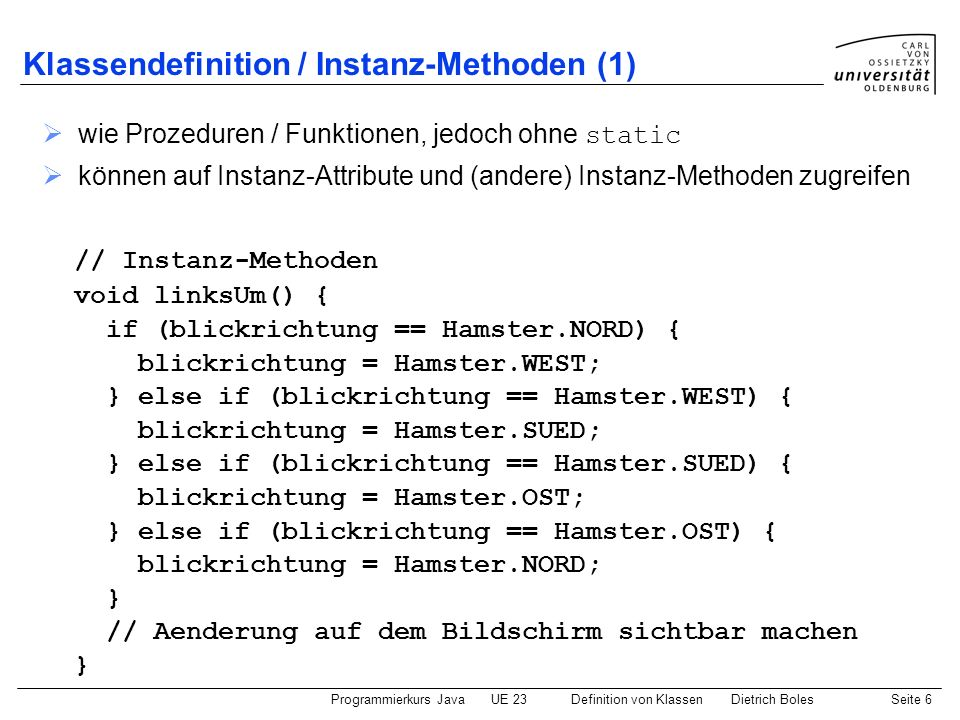 Klassendefinition / Instanz-Methoden (1)