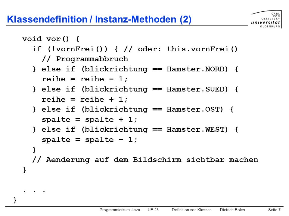 Klassendefinition / Instanz-Methoden (2)