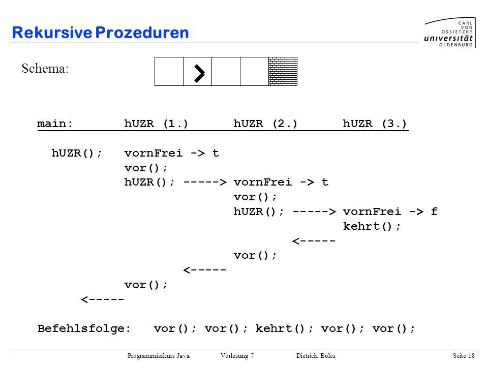 Rekursive Prozeduren Schema: main: hUZR (1.) hUZR (2.) hUZR (3.)
