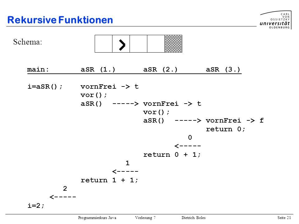 Rekursive Funktionen Schema: main: aSR (1.) aSR (2.) aSR (3.)