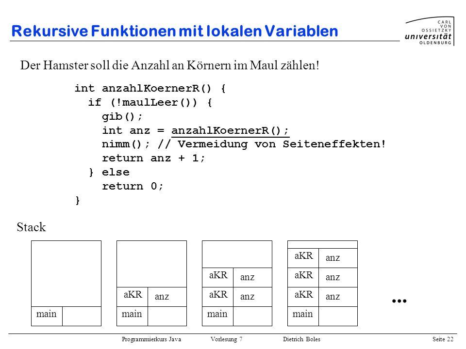Rekursive Funktionen mit lokalen Variablen