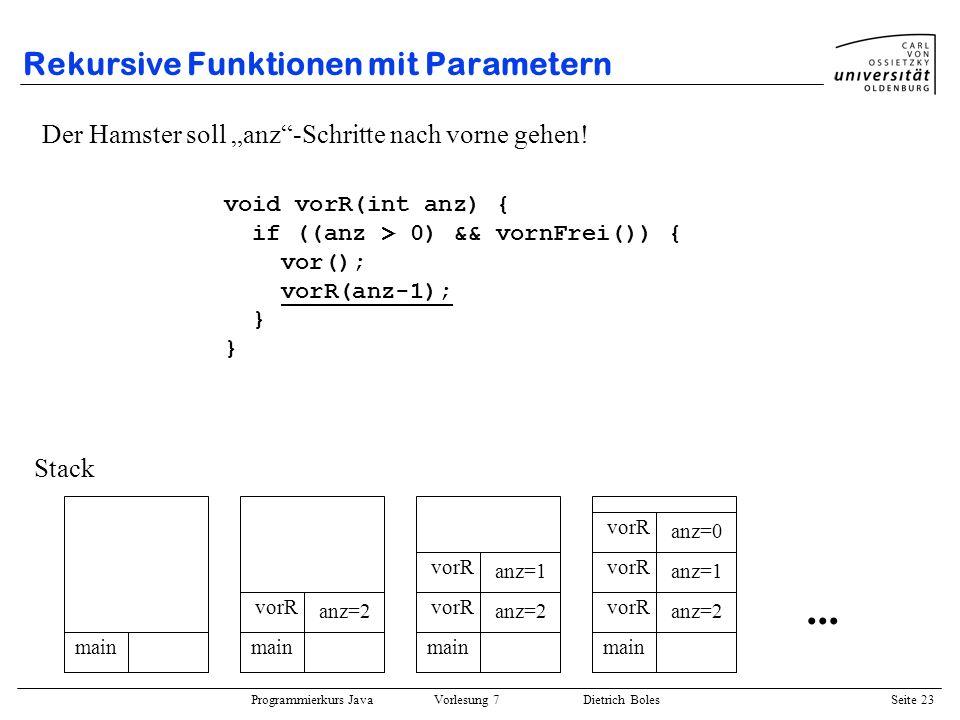 Rekursive Funktionen mit Parametern