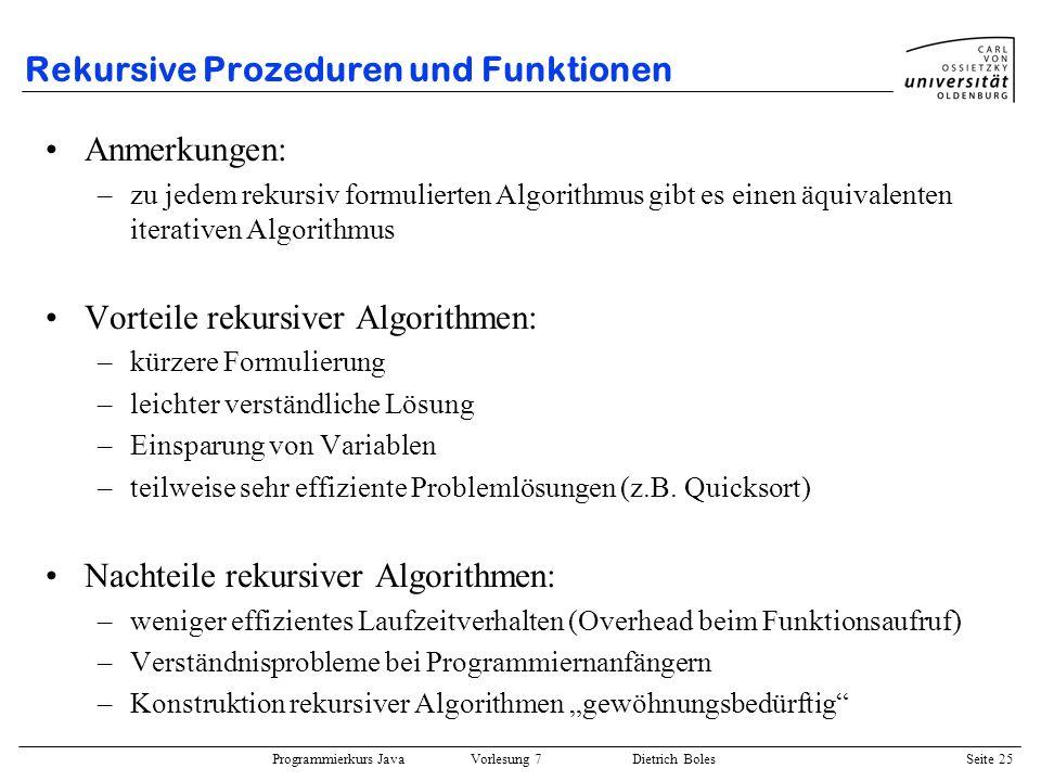 Rekursive Prozeduren und Funktionen