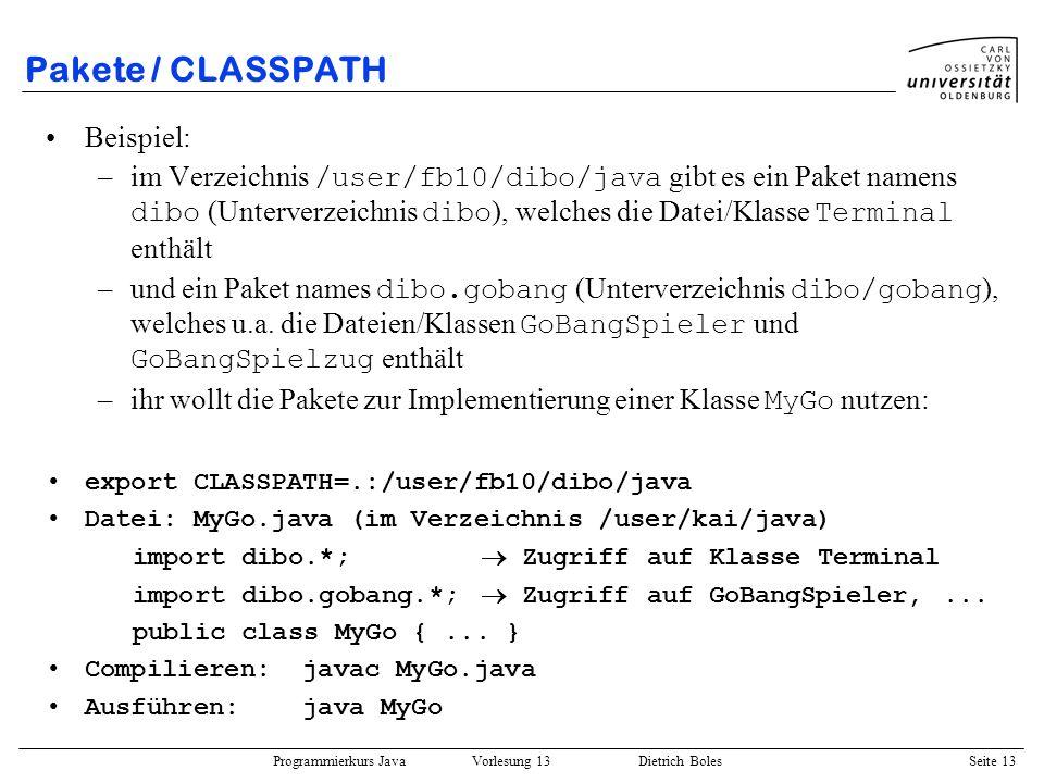 Pakete / CLASSPATH Beispiel: