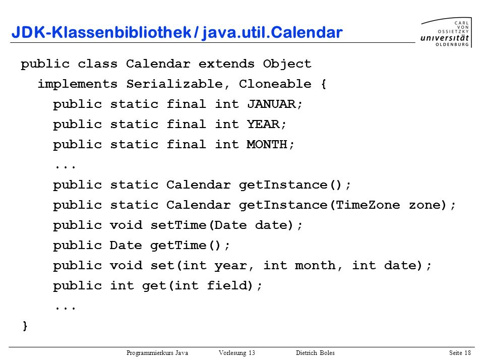 JDK-Klassenbibliothek / java.util.Calendar