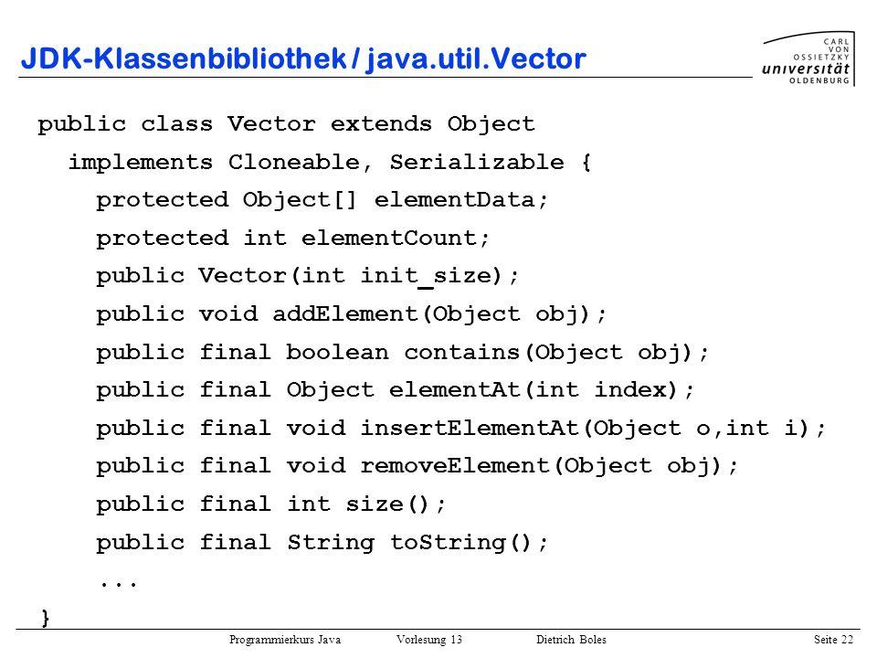JDK-Klassenbibliothek / java.util.Vector