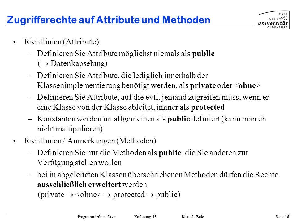 Zugriffsrechte auf Attribute und Methoden