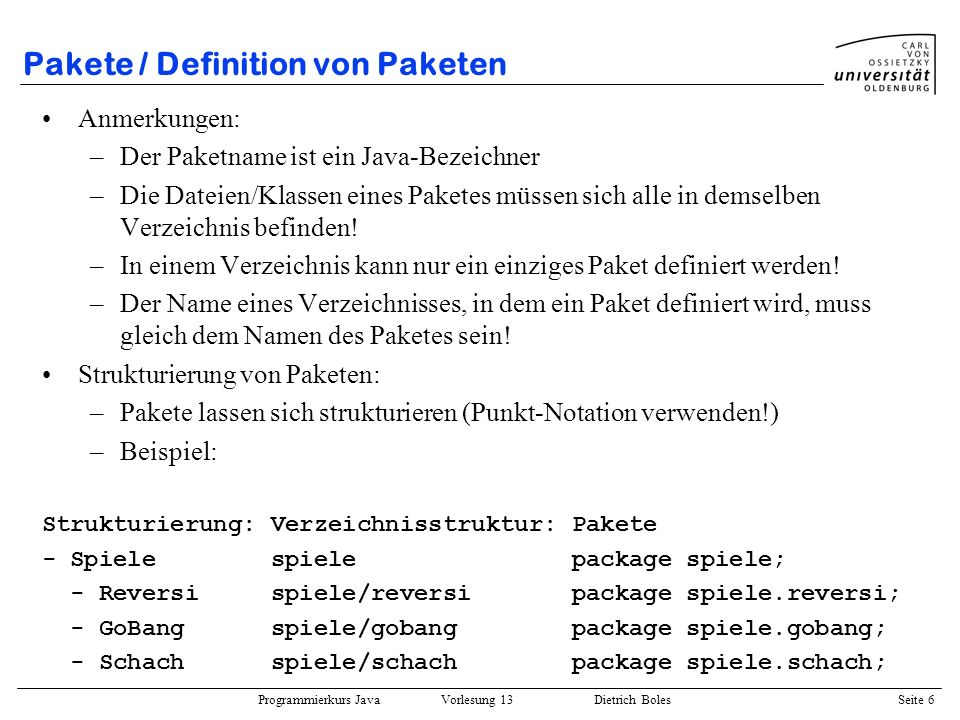 Pakete / Definition von Paketen