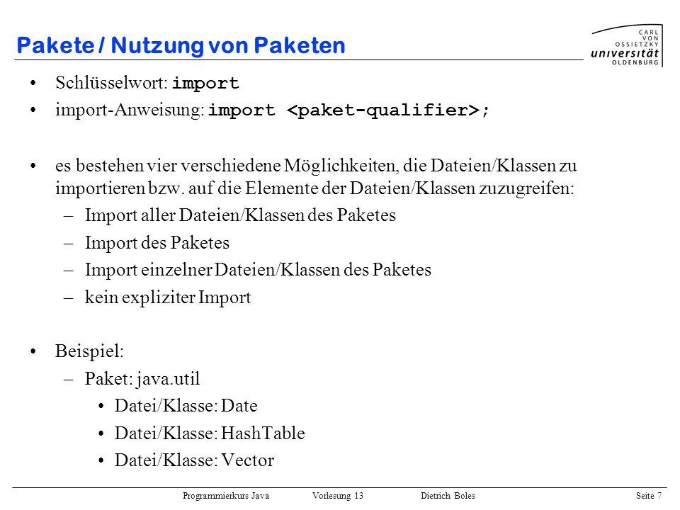 Pakete / Nutzung von Paketen