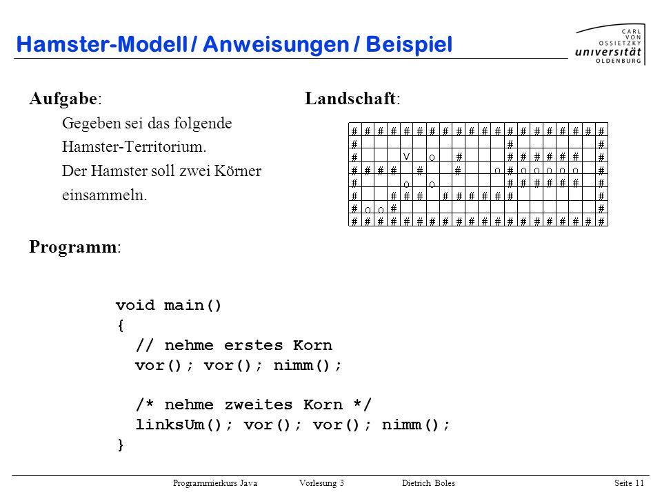 Hamster-Modell / Anweisungen / Beispiel