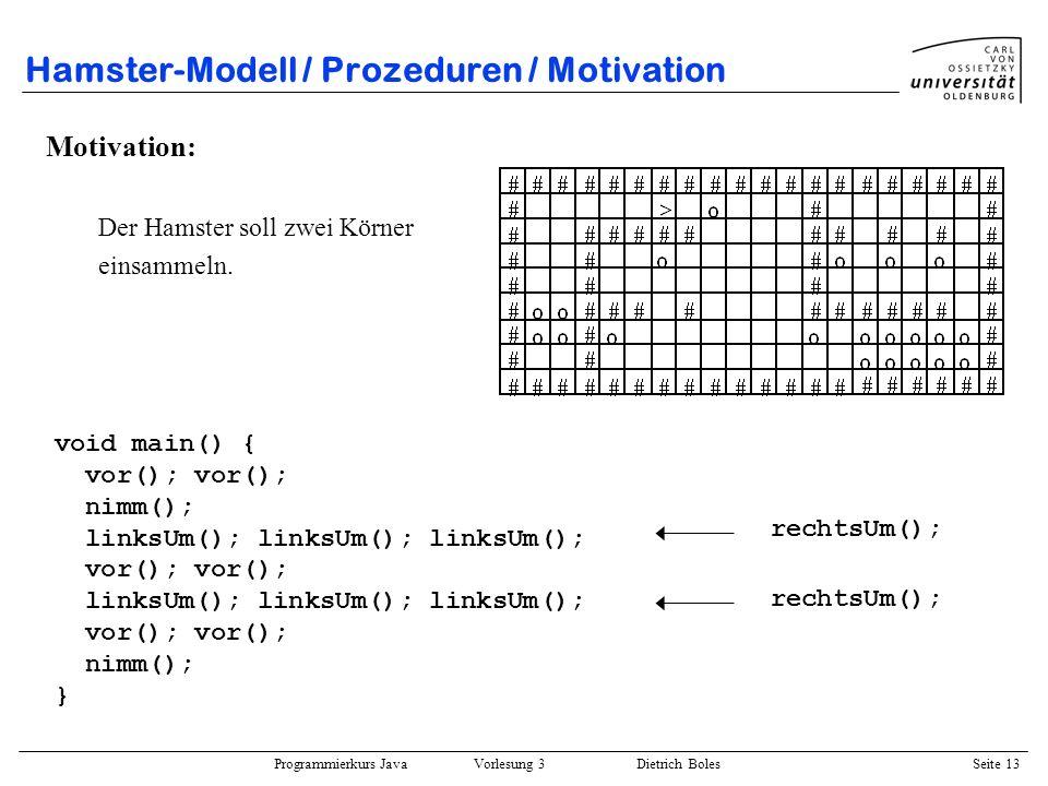Hamster-Modell / Prozeduren / Motivation