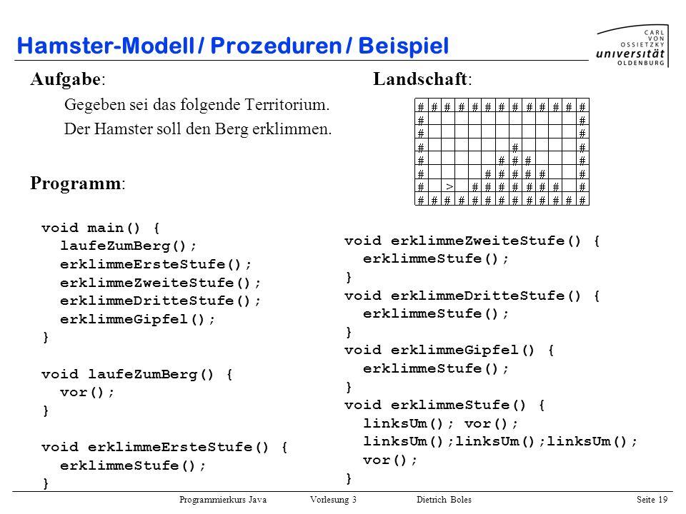 Hamster-Modell / Prozeduren / Beispiel