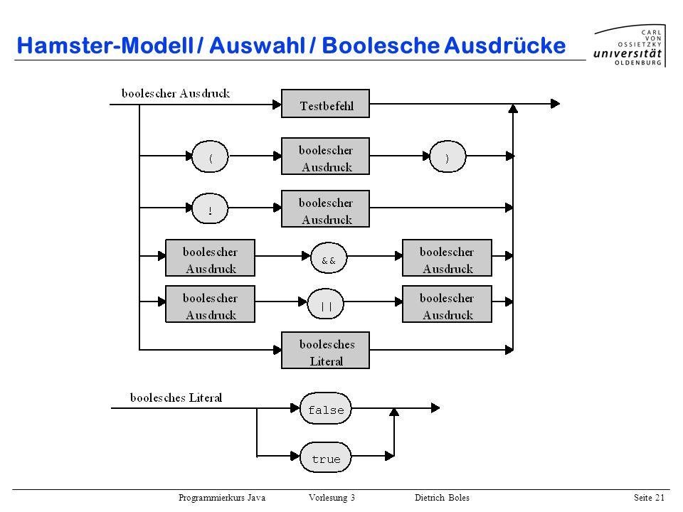 Hamster-Modell / Auswahl / Boolesche Ausdrücke