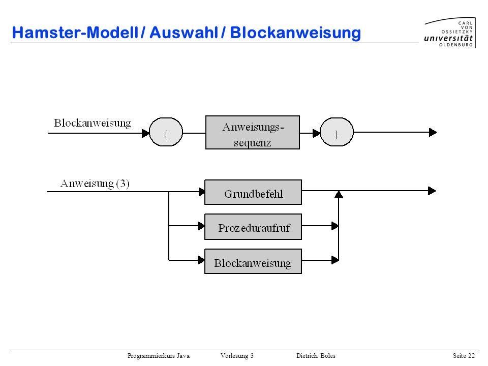 Hamster-Modell / Auswahl / Blockanweisung