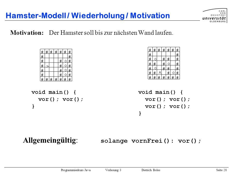 Hamster-Modell / Wiederholung / Motivation