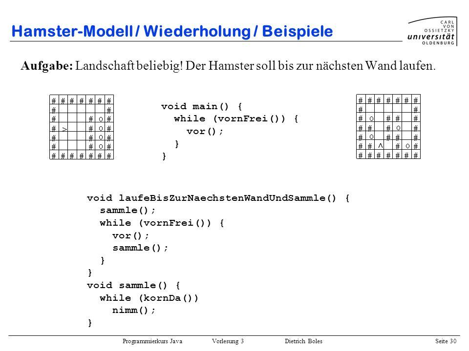 Hamster-Modell / Wiederholung / Beispiele