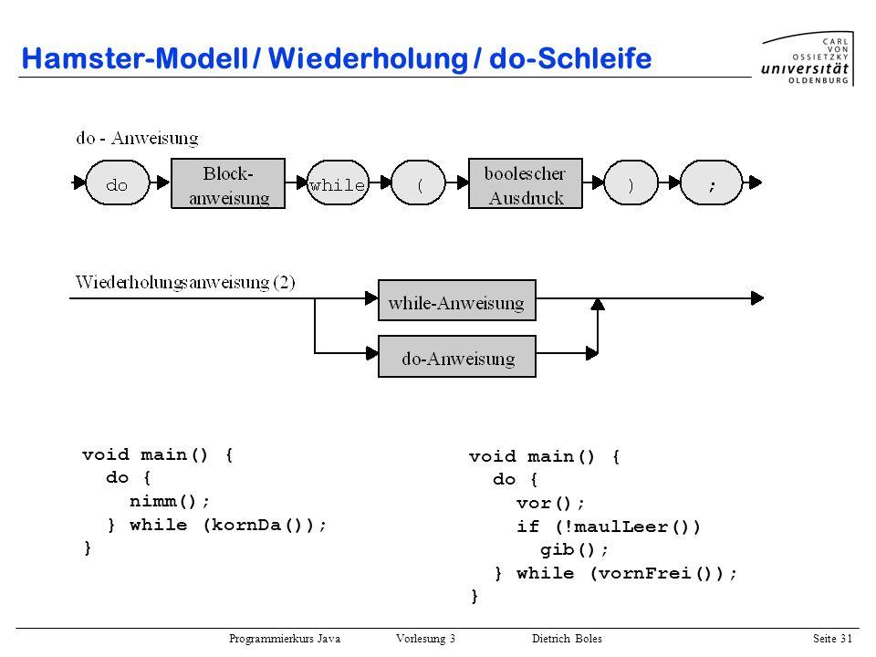Hamster-Modell / Wiederholung / do-Schleife