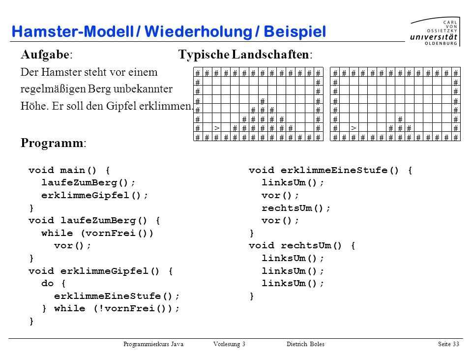 Hamster-Modell / Wiederholung / Beispiel