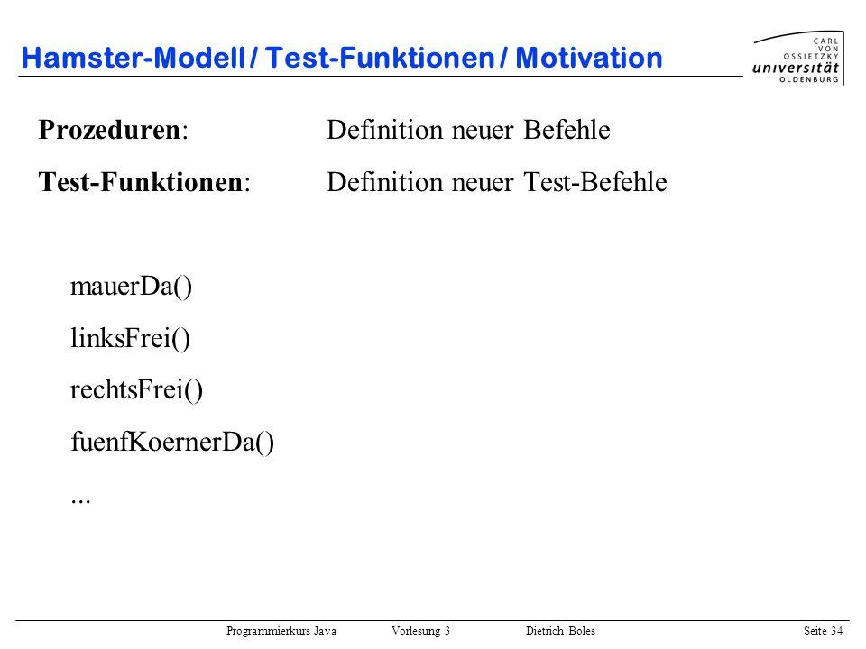 Hamster-Modell / Test-Funktionen / Motivation