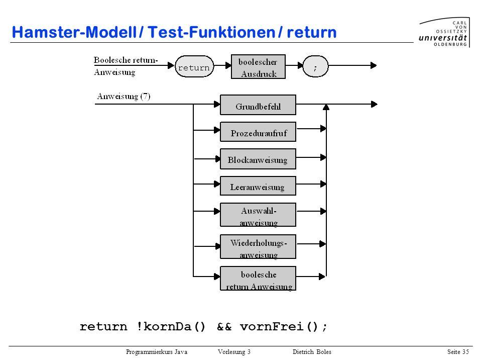Hamster-Modell / Test-Funktionen / return