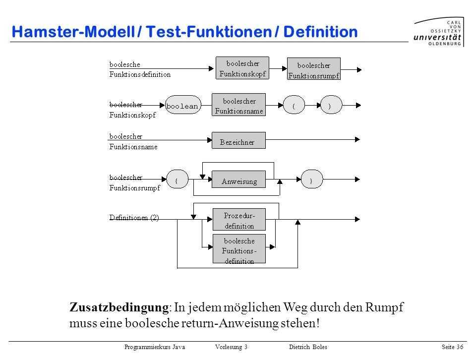 Hamster-Modell / Test-Funktionen / Definition
