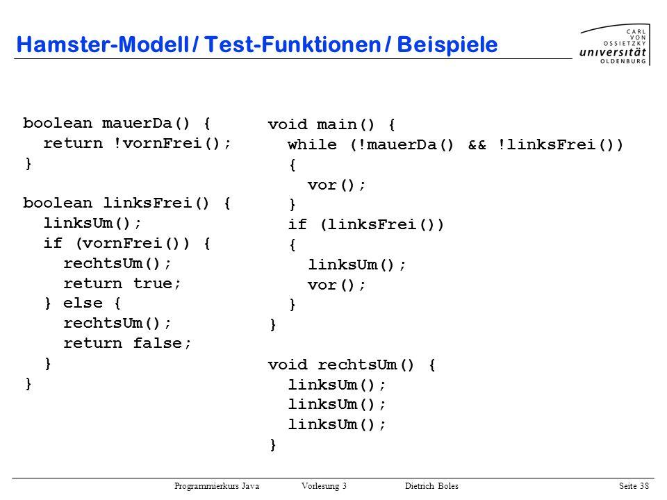 Hamster-Modell / Test-Funktionen / Beispiele