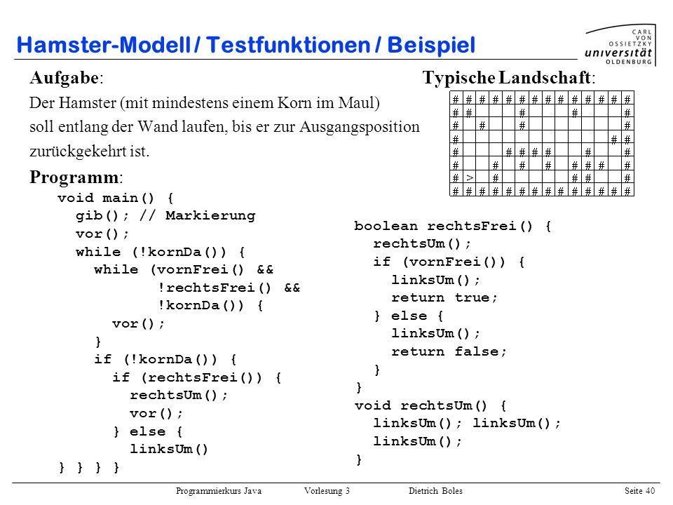 Hamster-Modell / Testfunktionen / Beispiel