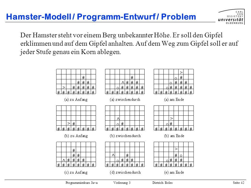 Hamster-Modell / Programm-Entwurf / Problem