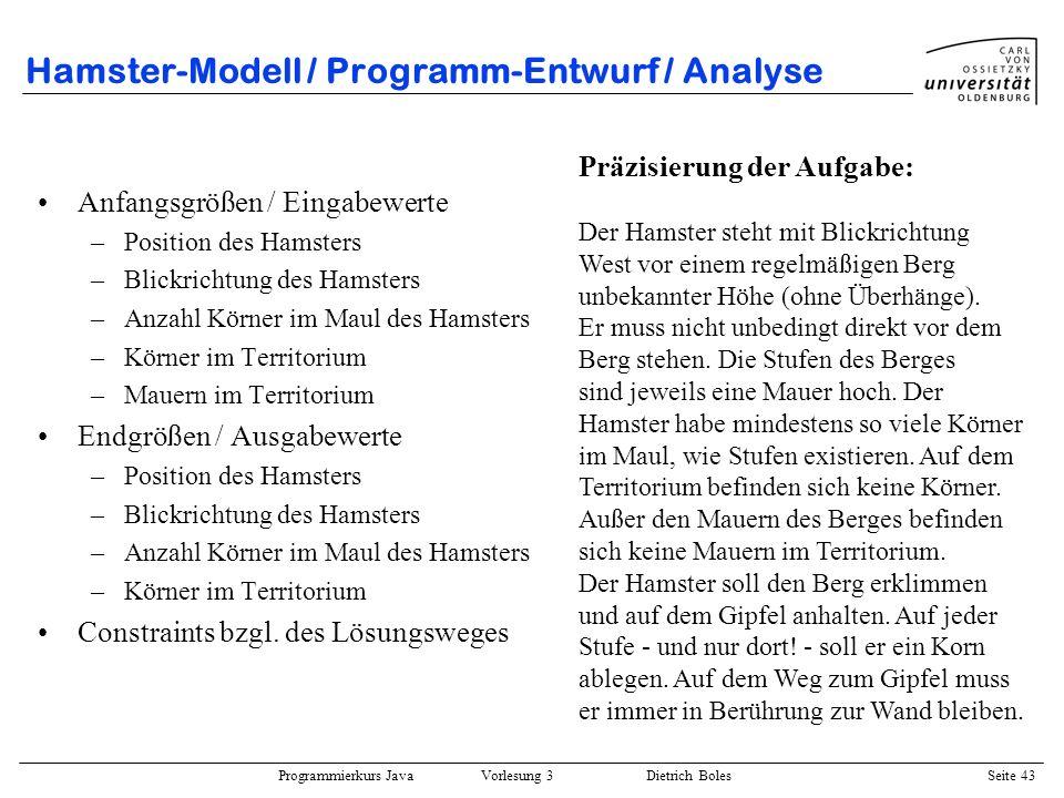 Hamster-Modell / Programm-Entwurf / Analyse