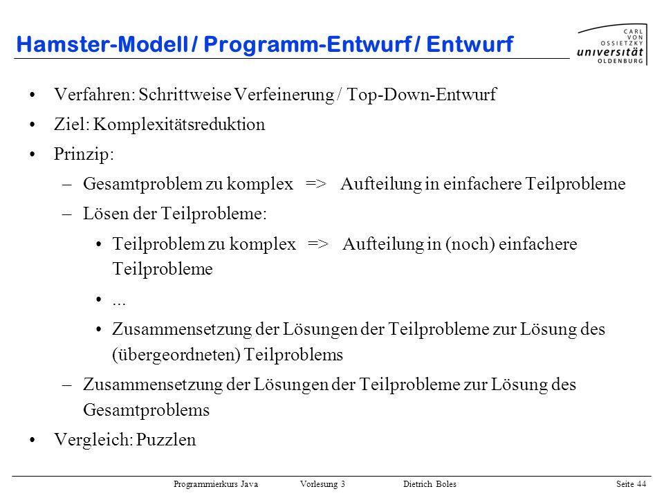 Hamster-Modell / Programm-Entwurf / Entwurf